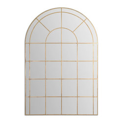 Uttermost - Grantola Arched Mirror - Get the rich look of a vintage window design with the added bonus of a mirrored surface. The decorative mirror will positively sparkle in your entryway, while delicate gold accents glisten around each frame. You simply cannot go wrong with this elegant look.