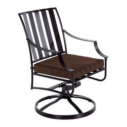 OW Lee - OW Lee Laredo Swivel Rocker Dining Arm Chair - The Laredo collection was designed with comfort in mind. Utilizing spring steel strapping in the seat and back coupled with an extra wide arm there are few collections that rival it in relaxation. The simple lines of this collection add a touch of modern class without pretention.Since 1947 O. W. Lee has been making hand wrought iron casual patio furniture In the United States. O. W. Lee's designs evoke classical European and traditional South West American aesthetics. Created with traditional blacksmithing techniques but ideally suited for our modern lifestyles. Based in California O.W. Lee updates traditional with modern equipment and materials to produce beautiful durable furniture. From the reticulated foam in the cushions to their galvanized metal frames; O.W. Lee consistently strives for and achieves style comfort and durability. Oversized cushions fire pits and inviting designs encourage casual lounging on your patio.  Features include Made of extremely durable wrought iron material Hand formed by skilled craftsmen to insure the strongest furniture in the industry Offered in wide selection of powder coated finishes manufactured to prevent rust Offered in wide variety of fabric options for cushions Super comfortable high quality cushions designed for extreme comfort Arm handles are offered for comfort and style Features swivel rocking motion for relaxation and comfort. Specifications Seat Height: 19.5 Arm Height: 25.5.