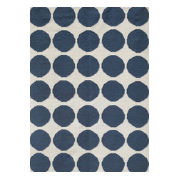 Jaipur Rugs - Flat Weave Geometric Pattern Blue Wool Handmade Rug - MR08, 8x10 - An array of simple flat weave designs in 100% wool - from simple modern geometrics to stripes and Ikats. Colors look modern and fresh and very contemporary.