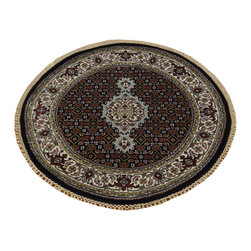 1800-Get-A-Rug - Round Tabriz Mahi Handmade Wool and Silk Oriental Rug 250 kpsi Sh19819 - Our fine Oriental hand knotted rug collection consists of 100% genuine, hand-knotted and hand-woven rugs from Persia, China, and other areas throughout Asia. Classic, traditional, and offered in a wide range of elaborate designs, every handmade rug is guaranteed to serve as a beautiful and striking element in any interior setting.
