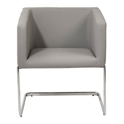 Eurostyle - Eurostyle Ari Lounge Chair in Gray Leatherette & Chrome - Look at this chair from any angle and you see an orderly, well-organized shape that always looks neat and tidy. But when you sit surprise the seat is slightly angled in the back and the chair is remarkably cozy. The Ari: tailored, solid and stay-awhile comfortable. What's included: Lounge Chair (1).