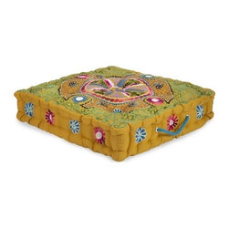 "IMAX - Morbia Box Cushion - The golden yellow of the Morbia cushion is perfect of extra seating when you have guests over.  Item Dimensions: (4""h x 20""w x 20"")"