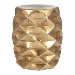 Golden Accent Garden Stool - The Golden Accent Garden Stool is a modern piece that will add class to any room's décor. Carefully constructed geometrical shapes on a golden backdrop makes it a distinctive addition to your home or outdoor living space.
