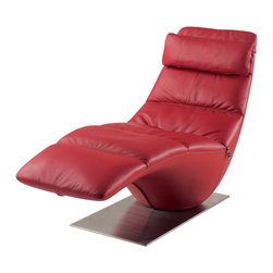 Zuri Furniture - Zola Red Leather Contemporary Lounge Chaise - Lounge in style with the Zola chaise! It's curves are just in line with yours.