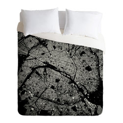 DENY Designs - DENY Designs CityFabric Inc Paris Black Duvet Cover - Lightweight - Turn your basic, boring down comforter into the super stylish focal point of your bedroom. Our Lightweight Duvet is made from an ultra soft, lightweight woven polyester, ivory-colored top with a 100% polyester, ivory-colored bottom. They include a hidden zipper with interior corner ties to secure your comforter. It is comfy, fade-resistant, machine washable and custom printed for each and every customer. If you're looking for a heavier duvet option, be sure to check out our Luxe Duvets!