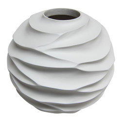 Bahari - Mango Wood Ripple Vase - Mango Wood Ripple Vase.  Handcrafted from a one solid piece of Mango wood.Glass liner included