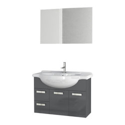 ACF - 32 Inch Glossy Anthracite Bathroom Vanity Set - Set Includes: Vanity Cabinet (2 Doors,2 Drawers), high-end fitted ceramic sink, wall mounted vanity mirror.