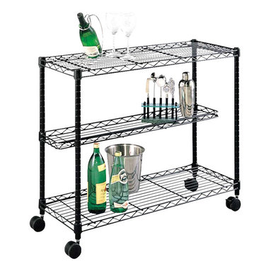 Metro Shelving - Wire Shelf Wine Cart - Entertain your guests with this attractive wine cart. The wire shelf design detracts dust while providing an incredible degree of adjustability. It can be rolled around anywhere with its quality casters and highly sturdy desk.