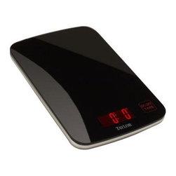 "Taylor - Black Glass Kitchen Scale - Taylor Black Glass Kitchen Scale with 0.8"" reverse red backlit LCD display"