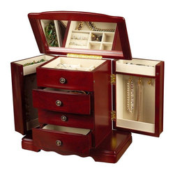 """Mele & Co. - Harmony Musical Jewelry Box - Three open drawers. Dual necklace doors with catch panels and house three hooks each. Compartment on top of each door. Plays """"Beautiful Dreamer"""". Lift lid with full interior mirror. Top compartment with five open sections and ring rolls. Antiqued brass tone drawer pulls. Hand lined in sand sueded fabric. Scroll-footed platform base. Cherry finish. 10.33 in. W x 5.38 in. D x 9.5 in. HWith a blend of classical beauty and surprising jewelry storage capacity Harmony jewelry chest makes a most splendid muse."""