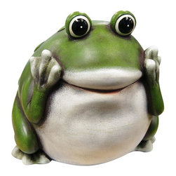 """Alpine Fountains - 9 in. Frog Statue - Made of Polyresin and Stone Powder. 1 Year Limited Warranty. Assembly Required. Overall Dimensions: 9 in. L x 9 in. W x 9 in. H (2.64 lbs)These green frogs are not only cute, but wise as they embody the age old saying, """"Hear no evil, Speak no evil, See no evil."""" Bring them in to your garden and let them remind all who enter of the serenity of inner peace."""