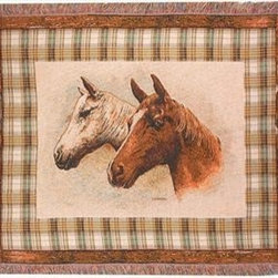`Field of Dreams` Horse Print Tapestry Throw Blanket 50 Inch X 60 Inch - This multicolored woven tapestry throw blanket is a wonderful addition to your home or cabin. Made of cotton, the blanket measures 50 inches wide, 60 inches long, and has approximately 1 1/2 inches of fringe around the border. The blanket features a print of a pair of horses, shown from the neck up, against a light tan background. Care instructions are to machine wash in cold water on a delicate cycle, tumble dry on low heat, wash with dark colors separately, and do not bleach. This comfy blanket makes a great housewarming gift that is sure to be loved.