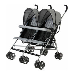 Dream On Me - Twin Umbrella Stroller - Features: -Stroller.-Ultra-lightweight full-size twin stroller.-Abundant storage space for your children's necessities.-Compact umbrella style design makes travel easy, fun, and safe.-Fully reclining seats a five point safety harness and two Baskets.-Each canopy is fully adjustable.-Fully reclining seats, two Baskets.-Five point safety harness.-Distressed: No.Dimensions: -Overall Product Weight: 26.5 lbs.Assembly: -Features:.-Assembly required.Warranty: -30 Days manufacturer's warranty.