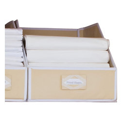 Great Useful Stuff - Collapsible Linen Closet Storage - Don't let your bathroom closet become a dumping ground for towels and toiletries. Reclaim your space with these linen closet organizers. The fiberboard panels stand tall while you separate your towels and linens and neatly put them away. There are even preprinted labels you can attach to guide your kids when they help with the laundry.
