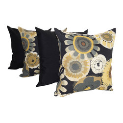 Land of Pillows - Crosby Ebony and Solar Solid Black Outdoor Decorative Throw Pillows - Set of 4 - Fabric Designer - Richloom