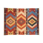 Multicolored Hand Woven Anatolian Kilim 100% Wool Flat Weave 9'X12' Rug SH6948 - Soumaks & Kilims are prominent Flat Woven Rugs.  Flat Woven Rugs are made by weaving wool onto a foundation of cotton warps on the loom.  The unique trait about these thin rugs is that they're reversible.  Pillows and Blankets can be made from Soumas & Kilims.