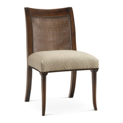 Baker Furniture - Sloane Side Chair - Turned flare front and serpentine saber legs elevate an upholstered slip seat. The back is natural double cane.