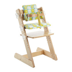 Kid 2 Youth - Kid 2 Youth Q-Momo Wooden High Chair, Floral - The Q-Momo Wooden High Chair from Kid 2 Youth safely and easily adjusts to grow with your child.  The padded seat cover is constructed of easy to care for vinyl. The safety rail makes sure baby is always sitting up in the right posture.