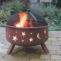 """Landmann - Big Sky Stars and Moon Fire Pit - The unique style of this incredible fire pit creates an incredible ambience at night. Created with your convenience in mind, this fire pit is made out of sturdy steel construction designed for easy assembly. A full-size enamel cooking grate is included as well as a spark guard cover and poker. Don t miss out on this incredible product, as there is no better way to keep warm or cook in the outdoors than with this fire ring. Features: -Stars and moon design.-Separately in: Western and Wildlife design.-Full diameter handle.-Please Note: Item should be placed on a brick, stone or concrete surface to prevent fire hazards.-Distressed: No.-Collection: Big Sky.-Gloss Finish: No.-Material: Steel.-Hardware Material: Steel.-Tabletop Fireplace: No.-Fuel Type: Wood or charcoal.-Plug In: No.-Fire Bowl Filler Accommodated: Can be used with charcoal for grilling.-Fire Bowl Filler Included: No.-Folding: No.-Heat Resistant Coating: Yes.-UV Protected: No.-Rust Resistant: No.-Fade Resistant: No.-Suitable For Use On Wooden Surface: No.-Log Grate Included: No.-Spark Screen Included: Yes -Spark Screen Material: Steel..-Snuffer Included: No.-Fire Poker Included: Yes.-Safety Ring: Yes.-Built in Cooking Area: Yes -Cooking Grate Included: Yes.-Adjustable Cooking Grate: No..-Handles: Yes.-Portable: Yes.-Cover Included: No.-Swatch Available: No.-Commercial Use: No.-Recycled Content: No.-Eco-Friendly: No.Specifications: -360 Degree viewing of the fire.Dimensions: -Large 23.5'' diameter bowl.-Overall Product Weight: 32 lbs.-Overall Height - Top to Bottom: 23"""".-Overall Width - Side to Side: 29.5"""".-Overall Depth - Front to Back: 29.5"""".-Fire Bowl Height: 12.5"""".-Fire Bowl Width: 23.5"""".-Fire Bowl Depth: 23.5"""".-Spark Screen: -Spark Screen Height - Top to Bottom: 6"""".-Spark Screen Width - Side to Side: 22.5"""".-Spark Screen Depth - Front to Back: 22.5""""..-Safety Ring Diameter: 0.5.-Distance Between Safety Ring And Fire Bowl: 2.25"""".Assembly: -Assembly Required: Ye"""