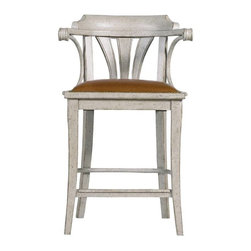 Stanley Furniture - Arrondissement-Soleil Counter Stool - Imagine enjoying your cafe au lait and croissant as the sun rises perched in the Soleil Counter Stool. This elegant, yet relaxed, design invites you to while away the hours with its pairing of a Saddle Leather seat and antique brass nailhead trim.