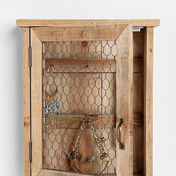 Reclaimed Wood Wall Jewelry Holder - I am a huge fan of reclaimed wood pieces, and this jewelry cabinet is a lovely way to bring raw, natural wood into a bedroom space. It is so pretty.