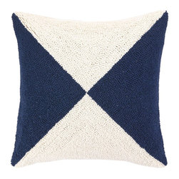 Peking Handicraft Hook Pillow, Nautical Flag Blue - Navy and white is such a classic combo. This pattern feels so sleek, and I want to stick it on a rustic Adirondack.