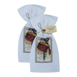 Golden Hill Studio - Three Cheers Flour Sack Towel Set of 2 - This lovely Flour Sack Towel set is adorned with an 1800s 4th of July print.  Printed and Assembled in the USA!