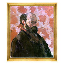 """Paul Cezanne-16""""x20"""" Framed Canvas - 16"""" x 20"""" Paul Cezanne Self Portrait with a Rose Background framed premium canvas print reproduced to meet museum quality standards. Our museum quality canvas prints are produced using high-precision print technology for a more accurate reproduction printed on high quality canvas with fade-resistant, archival inks. Our progressive business model allows us to offer works of art to you at the best wholesale pricing, significantly less than art gallery prices, affordable to all. This artwork is hand stretched onto wooden stretcher bars, then mounted into our 3"""" wide gold finish frame with black panel by one of our expert framers. Our framed canvas print comes with hardware, ready to hang on your wall.  We present a comprehensive collection of exceptional canvas art reproductions by Paul Cezanne."""