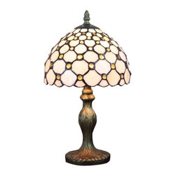 ParrotUncle - Small Tiffany Glass Jeweled Modern Table Lamps - The gemstones Tiffany table Lamp highlights the gracefulness of gems with the bold color of amber, adding a touch of understated gorgeousness to your nightstand. It gives off a wonderful glow, perfect for placing on the nightstand to create a warm and cozy ambient.