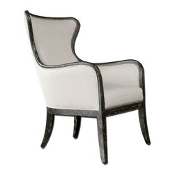 Uttermost - Sandy Wing Back Armchair - Shimmery, Sandy White Woven Tailoring Features Teflon(R) Fabric Protector And Brass Nail Accents. Exposed Wood Frame Is Solid White Mahogany With Reinforced Joinery And Hand Applied, Weathered Black Finish. Matching Loveseat Is Item #23074.