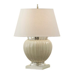Murray Feiss - Gray Owl Crackle/Polished Nickel Lamp - Turn on a classic stylish look every time you switch on this shapely ceramic lamp. The creamy colors of gray owl and almond linen are the perfect neutrals for any possible style of decor. The polished nickel accents are just the refined touches your side table needs.