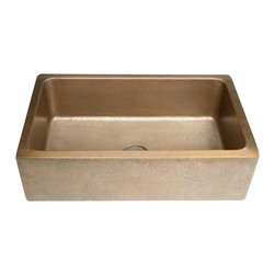 "Nantucket - Nantucket Sinks  FS-302010-HLA-IE Copper Apron Sink - Undermount, hammered Apron and hammered bowl. Made from 16 Gauge Copper. Made to fit a standard 3.5"" drain . Light Antique Finish"