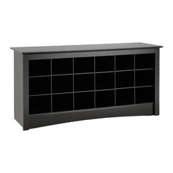 Prepac - Prepac Sonoma Black Shoe Storage Cubbie Bench - Store your shoes where you put them on with our shoe storage cubbie bench. Dual-purposed and versatile, this bench is a great addition to your foyer, mudroom, utility room or bedroom. Each of the 18 individual cubbies is spacious enough to hold a pair of size 13 men's shoes, keeping them neatly stored and out of the way. It's the perfect piece to keep your shoes organized.