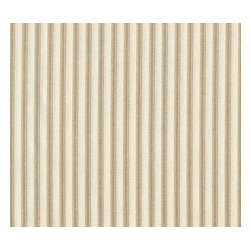 "Close to Custom Linens - 24"" Tailored Tiers, Unlined, Ticking Stripe Linen Beige - A charming traditional ticking stripe in linen beige on a cream background. Includes two panels."