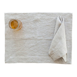 Huddleson Linens - Natural Undyed Linen Placemats, Set of 4 - Like a tasty cup of cappuccino, these placemats boast a soft brown hue that provides the perfect accompaniment to a fine meal. Crafted from 100 percent, luxurious Italian linen, they actually become softer with each washing — which makes using them again and again even more compelling.