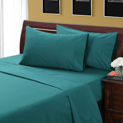None - Jasper 500 Thread Count Hemstitch Sheet Set - This lovely blue green 500 thread count hemstitch sheet set is constructed of 100-percent cotton and features a 15-inch pocket depth on the fitted sheet with a 360-degree wrapped elastic. The pillowcase and flat sheet have a 4-inch cuff.