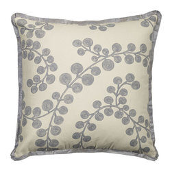 """Mystic Valley - Mystic Valley Traders Radiance Steel - Euro Sham A with Insert - The Radiance Steel Euro sham is fashioned from the Bough Blue fabric on each side, and finished with a Glimmer Steel flower flange; sold with polyester microfiber insert; 26""""x26""""."""