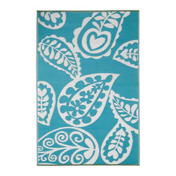 Fab Habitat - Indoor/Outdoor Paisley Rug, River Blue & White, 5x8 - This paisley rug is woven from recycled plastic, so it's washable and mildew resistant. Ideal for the deck, playroom or beach — anywhere you want good looks and easy care. For a dramatic change, flip it over and see the pattern in reverse. Comes with a jute tote bag, for convenient transport or storage.