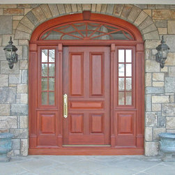 HeartWood Traditional Doors - Mahogany door with sidelites and elliptical transom.