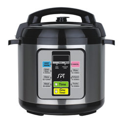 SPT - 6.5-Quart Electric Pressure Cooker - Reduce time spent in the kitchen with help of this 6.5-quart Electric Pressure Cooker. Pressure cooking is cooking in a sealed vessel that does not permit steam to escape below a preset pressure. Pressure cooking cooks food more quickly compared to conventional cooking methods, which also saves energy. The food is heated quickly due to internal steam pressure that builds up, which cooks food at a higher temperature and with greater humidity. Pressure cooking locks in heat, moisture and flavor, as well as nutrients and vitamins for a healthy meal.