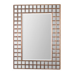Keely Mosaic Mirror - Numerous, Small, Beveled Mirrors Inlaid Into A Wood Frame Covered In Oxidized, Copper Sheeting Accent Center Mirror Which Has A Generous 1 1/4 Bevel. May Be Hung Horizontal Or Vertical.