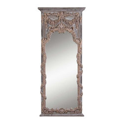 Uma- Mirror - Large Scale Shabby Chic Mirror with Heavily Carved classical Details. Distressed Gray Wash Finish with Gold Accents