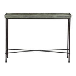Conservatory Console Table - This unique metal table adds charm and character to any setting. It has been on my own wish list for quite a while. I would use it as a plant table for only white orchids and/or some myrtle plants.