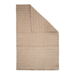Hook & Loom Rug Company - Deerfield Taupe/Natural Eco Cotton Rug - Very eco-friendly rug, hand-woven with yarns spun from 100% recycled fiber.  Color comes from the original textiles, so no dyes are used in the making of this rug.  Hand-bound edges instead of hems, so it is 100% reversible for twice the wear. Machine wash and tumble dry. Made in India.