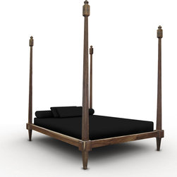Fiorenza Four Post Bed - This bed features four towering posts without a canopy or headboard. It can be used as a traditional bed, or as a lounge in a common area. Shown in Guayubira.  Available in any size, any finish, any material.