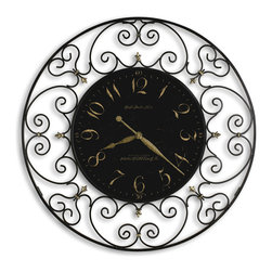 "Howard Miller - Howard Miller 36"" Large Black Iron Wall Clock 