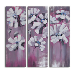 Snowy petals on pink Hand Painted 3 Piece Canvas Set - Petal power. A one-of-a-kind original, this hand-painted canvas is a modern-day interpretation of snow-covered flowers. Use it to add eye-catching color and intrigue to your walls.