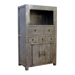 Madera Home - Johan Gray 2 Door 5 Drawer Tall Cabinet - Our collection of cabinets are built of beautiful elm wood reclaimed from buildings and furniture pieces that graced the eclectic Qing dynasty. Each piece is meticulously hand built and finished by time-honored craftsman utilizing over 120 different processes. They fit perfectly by the side of a sofa, next to the bed, or extra storage in any room.