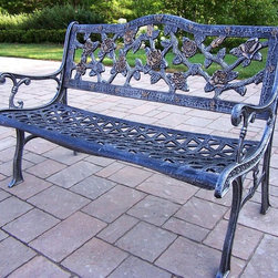 Oakland Living - English Rose Bench in Antique Pewter - Tea Ro - Made of Rust Free Cast Aluminum Construction. Easy to follow assembly instructions and product care information. Stainless steel or brass assembly hardware. Fade, chip and crack resistant. 1 year limited. Lightweight and constructed of rust-free cast aluminum. Hardened powder coat finish in Antique Pewter for years of beauty. Antique Pewter finish. Some assembly required. 50 in. W x 23.5 in. L x 40 in. H (65 lbs.)This Bench will be a beautiful addition to your patio, balcony or outdoor entertainment area. Our benches are perfect for any small space, or to accent a larger space.