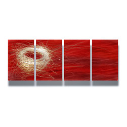 Miles Shay - Metal Art Wall Art Decor Abstract Contemporary Modern Sculpture- Nest Red - This Abstract Metal Wall Art & Sculpture captures the interplay of the highlights and shadows and creates a new three dimensional sense of movement as your view it from different angles.